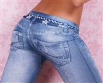 Stone Washed Jeans Jeggings - One Size Fits All