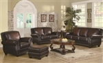 Coby Traditional Rich Brown Leather Sofa Set with Nail head Trim