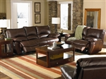 Clifford Brown Leather Double Reclining Sofa Set