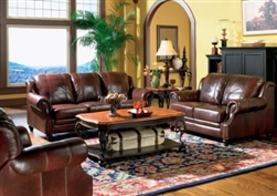 Princeton Rolled Arm Leather Sofa Set