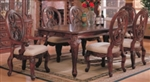 7 Piece Rectangular Leg Dining Table & Carved Chair