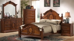 5 Piece Queen, King or California King Carved Caramel Finish Bed Set