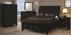 5 Piece Queen, King or California King Black Sleigh Bed with Foot Board Storage