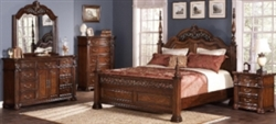 5 Piece Queen, King, or California King Poster Bed with Intricately Turned Posts