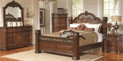 5 Piece Queen, King, or California King Grand Headboard & Foot Board Bed with Pillar Posts and Intricate Carving