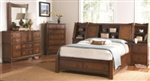5 Piece Queen or King Headboard and Footboard Slat Bed Set Keyhole Design and Shelf Hutch