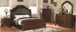 5 Piece Queen, King or California King Traditional Style Headboard and Footboard Bed Set