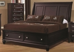 5 Piece Queen, King or California King Brown Sleigh Bed with Foot Board Storage
