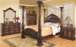 5 Piece Queen, King, or California King Poster Bed Set With Upholstered Panels
