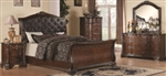 5 Piece Queen, King, or California King Brown Bed Set with Upholstered Headboard