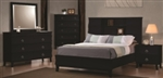 5 Piece Queen, King, or California King Black Curve Bookcase Design Casual Bed