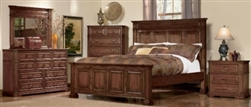 5 Piece Queen, King or California King Cherry Finish Panel Bed