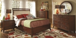 5 Piece Queen, King or California King Rich Cherry Finish Casual Bed Set with Under Bed Storage