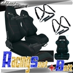 Brand New Black Racing Seat with Red Stitching & Black Camlock Harness Seat Belt