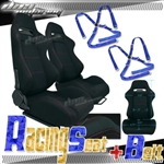 Brand New Black Racing Seat with Red Stitching & Blue Camlock Harness Seat Belt
