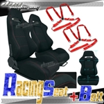 Brand New Black Racing Seat with Red Stitching & Red Camlock Harness Seat Belt