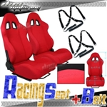 Brand New Red Racing Seats with Black Camlock Harness Seat Belt