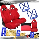 Brand New Red Racing Seats with Blue Camlock Harness Seat Belt