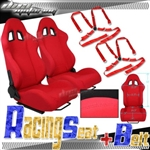 Brand New Red Racing Seats with Red Camlock Harness Seat Belt
