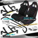 Brand New X2 Racing Seat - Black Belts - Harness Bar with Red Stitching