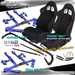 Brand New X2 Racing Seat - Blue Belts - Harness Bar with Red Stitching