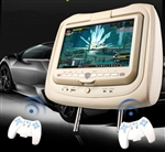 "Pair of Beige 9"" LCD Screen Headrest Car DVD Players with Wireless Headphones & Game Controllers"