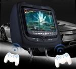"Pair of Black 9"" LCD Screen Headrest Car DVD Players with Wireless Headphones & Game Controllers"