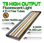 4Ft T5 High Output Grow Light with 4 Fluorescent Tubes