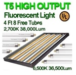 4Ft T5 High Output Grow Light with 8 Fluorescent Tubes