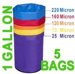 Hash Bubble Bags 1 Gal 5 Bag Set 25 - 220 Micron