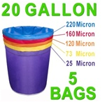 Hash Bubble Bags 20 Gal 5 Bag Set 25 - 220 Micron