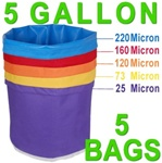 Hash Bubble Bags 5 Gal 5 Bag Set 25 - 220 Micron