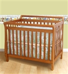 2 In 1 Aspen Wood Pecan Sleigh Mini Baby Crib/Twin Size Bed