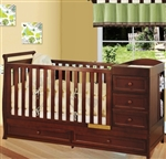 Multi-Function Cherry Solid Wooden Baby Crib Combo Dresser