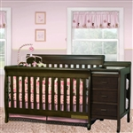 Multi-Function Espresso Solid Wooden Baby Crib Combo