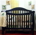 Aspen Solid Wooden Black Ebony 4 in 1 Functional Sleigh Toddler Bed / Baby Crib