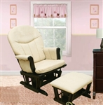 Deluxe Espresso Nursery Living Room Glider Chair w/ Ottoman w/ Beige Pad