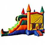 Commercial Grade Inflatable 3in1 Wavy Rainbow Slide Combo Bouncy House