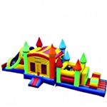 Commercial Grade Inflatable Rainbow Castle Combo Obstacle Course