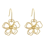 14k Gold Peace Flower Earrings