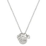 Love and Heart Charm Necklace in Silvertone