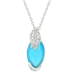 Leaf and Aqua Marquise And Necklace