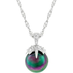 Leafed Tahitian Pearl Pendant Necklace