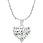 Cubic Zirconia Heart Pendant And Necklace