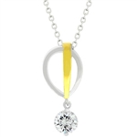 Tutone Raindrop Cubic Zirconia Pendant Necklace
