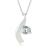 Cubic Zirconia Twist Pendant Necklace
