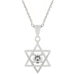 Star of David Solitaire Pendant Necklace