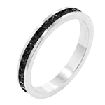 Jet Black Cubic Zirconia Stackable Ring