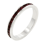 Stackable Ring with Ruby Cubic Zirconia Stone