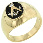 Onyx Masonic Ring in Goldtone